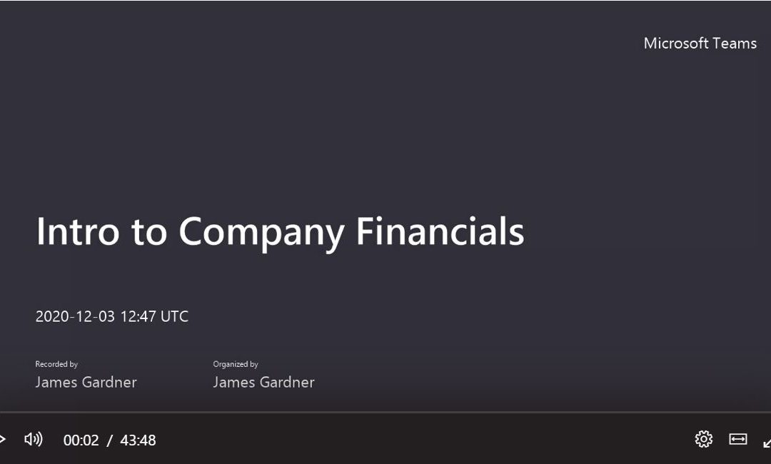 Introduction to Company Financials Video