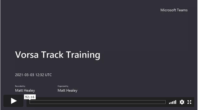 Vorsa Track Product Training